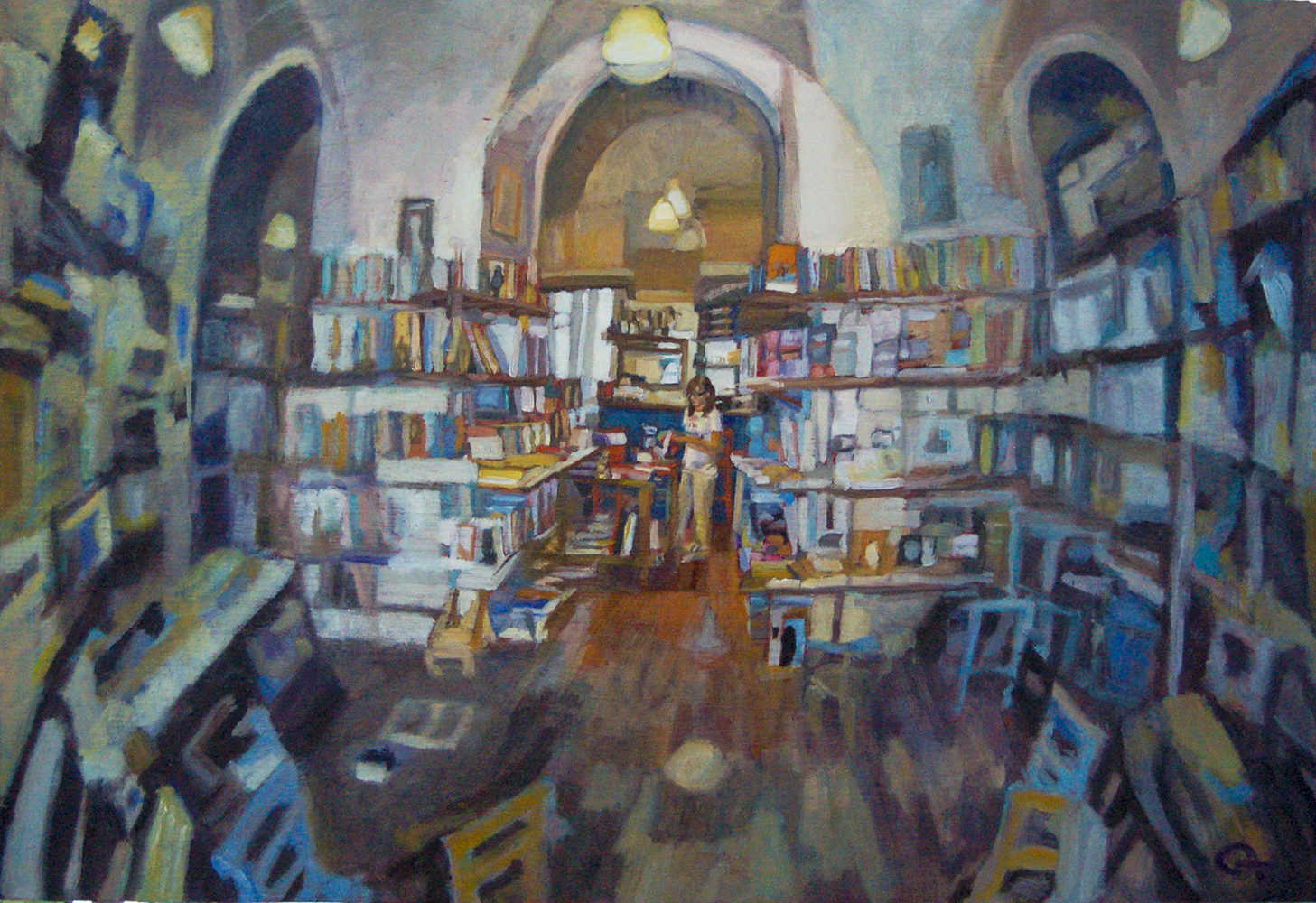 Painting_Bookshop in Rome_3d effect